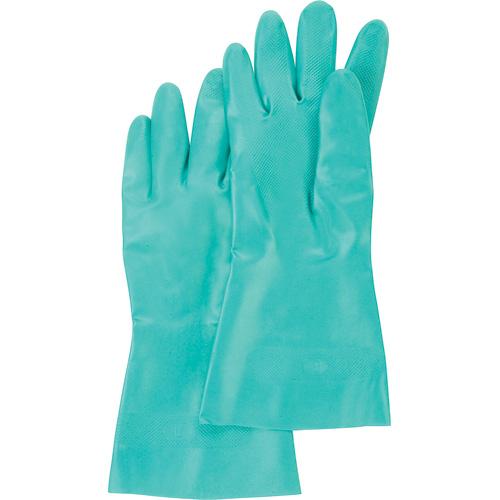 Flocked Lined Green Nitrile Gloves