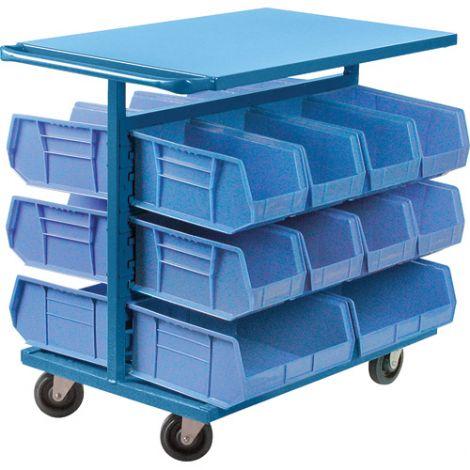 "Bin Carts - Cart & Bin Combination - Colour: Blue - Cart Dimensions: 24""W x 38-1/2""D x 36-1/2""H"