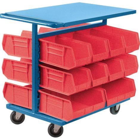 "Bin Carts - Cart & Bin Combination - Colour: Red - Cart Dimensions: 24""W x 38-1/2""D x 36-1/2""H"
