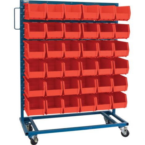 "Mobile Bin Racks - Singled Sided - Rack & Bin Combination - Colour: Red - Dimensions: 36""W x 16""D x 52""H"