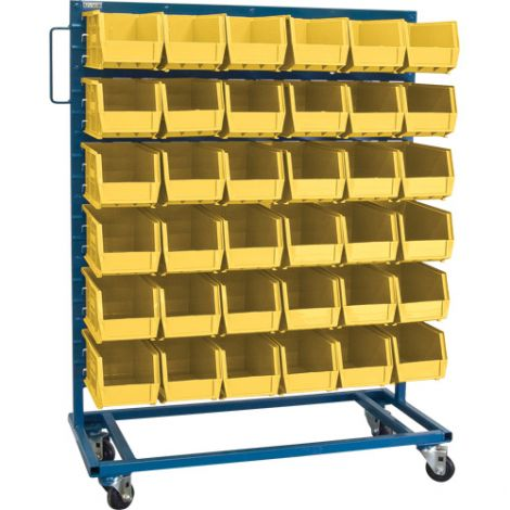 "Mobile Bin Racks - Singled Sided - Rack & Bin Combination - Colour: Yellow - Dimensions: 36""W x 16""D x 52""H"