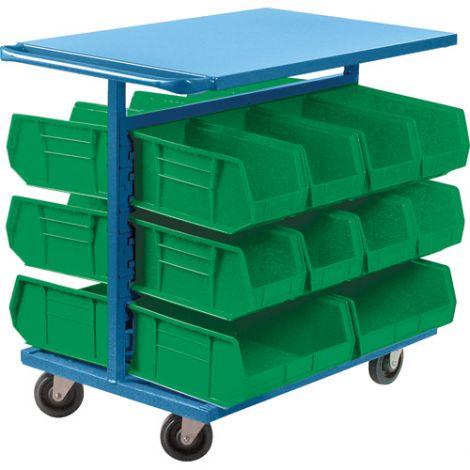 "Bin Carts - Cart & Bin Combination - Colour: Green - Cart Dimensions: 24""W x 38-1/2""D x 36-1/2""H"