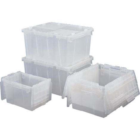 "Flipak® Clear Polypropylene Plastic (PP) Distribution Containers - 12.1""H  x 26.9""L x 16.9""W - Case/Qty: 3"