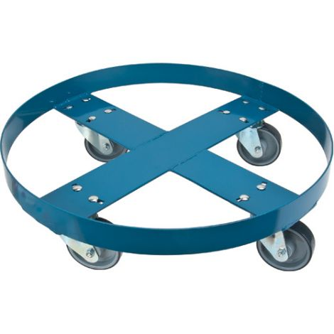"Steel Drum Dolly - ROUND FRAME - Caster Type: Polyurethane - Caster Size: 4"" - Height: 5 1/2"""