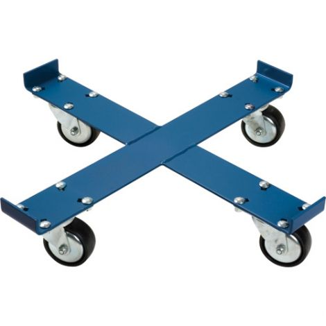 "Steel Drum Dolly - X-FRAME - Caster Type: Polyurethane - Caster Size: 4"" - Height: 5 1/2"""