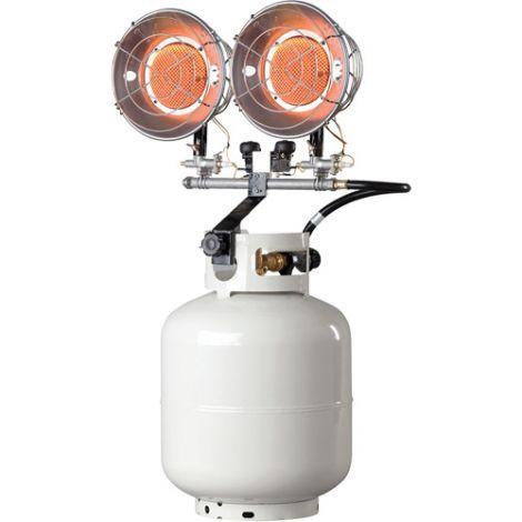 Double Tank-Top Radiant Heaters - Power Source: Propane - Min BTU Rating: 8000 BTU/H - Max BTU Rating: 30000 BTU/H