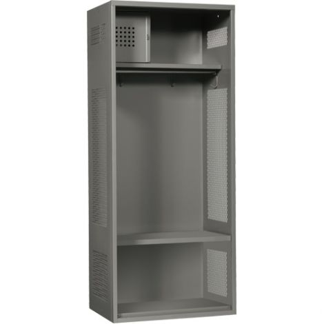 "All-Welded Gear Locker Includes Coat Bar - Colour: Grey - Overall Width: 24"" - Ships Free"