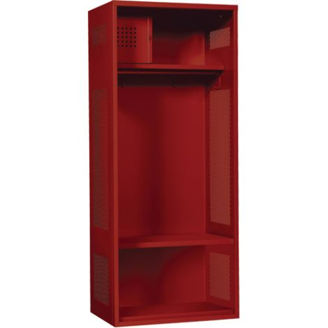 "All-Welded Gear Locker Includes Coat Bar - Colour: Red - Overall Width: 24"" - - Ships Free"