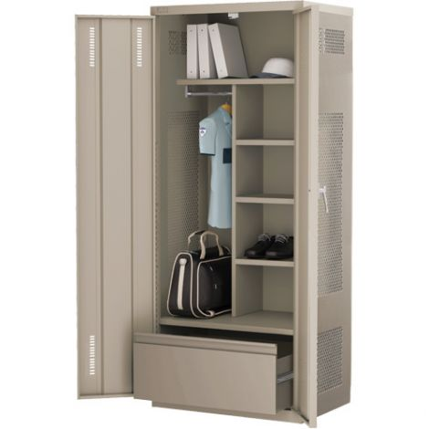 All-Welded Deluxe Gear Locker Includes Lateral Drawer - Colour: Beige - Ships Free