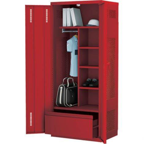 All-Welded Deluxe Gear Locker Includes Lateral Drawer - Colour: Red - Ships Free