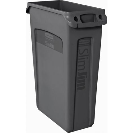 Slim Jim® Container with Venting Channels - Capacity: 23 US gal. - Colour: Black