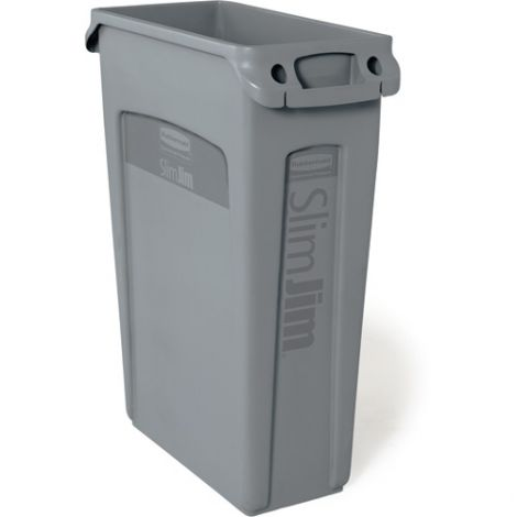 Slim Jim® Container with Venting Channels - Capacity: 23 US gal. - Colour: Grey