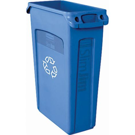 Slim Jim® with Venting Channels - Capacity: 23 US gal. - Colour: Blue w/Recycling Symbol