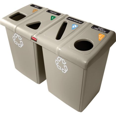 Glutton® Recycling Stations - Capacity: 92 US gal./92 gal. - Material: Plastic - Colour: Beige