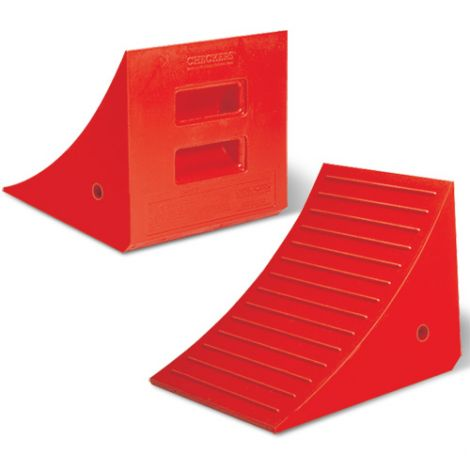 "Heavy-Duty Polyurethane Wheel Chock - Dimensions: 14""W x 17""L x 14""H"