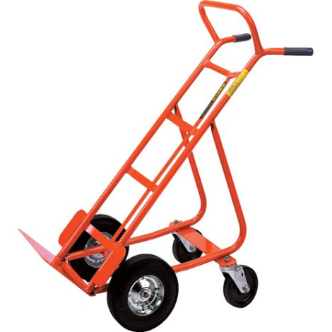 "Hand Trucks with Swivel Casters (Steel) - Handle Type: Dual Handle - Nose Plate Dimensions: 18""W x 8""D - Wheel: Pneumatic"