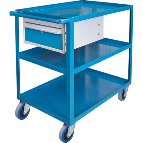 "Heavy Duty Shelf Cart with Drawer - Shelf Size: 24""W x 36""D - No. of Shelves: 3"