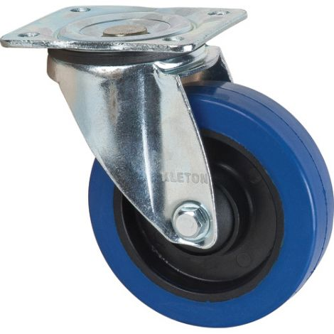 Blue Elastic Rubber Casters - Caster Type: Swivel