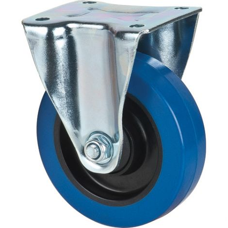 Blue Elastic Rubber Casters - Caster Type: Rigid