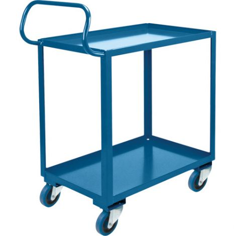"Ergonomic Shelf Truck - 2 Shelves - 26""W x 38""D x 37""H - Wheel Material: Blue Rubber"