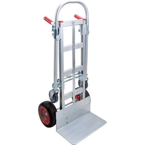 "Convertible Hand Trucks (Aluminum) - Handle Type: Dual - Nose Plate Dimensions: 18""W x 10""D - Wheel: Polyurethane"
