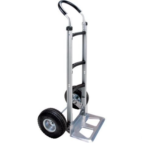 """Aluminum Hand Truck - Handle Type: Continuous Handle - Nose Plate: 14""""W x 7 1/2""""D - Wheel Material: Pneumatic"""