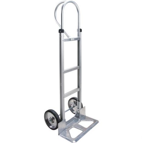 """Aluminum Hand Truck - Handle Type: P-Handle - Nose Plate: 18""""W x 7 1/2""""D - Wheel Material: Mold on Rubber"""