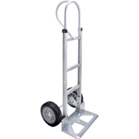 "Aluminum Hand Truck - Handle Type: P-Handle - Nose Plate: 18""W x 7 1/2""D - Wheel Material: Flat-Free"