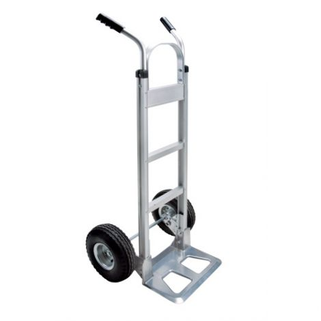 "Aluminum Hand Truck - Handle Type: Dual Handle - Nose Plate: 14""W x 7 1/2""D - Wheel Material: Pneumatic"