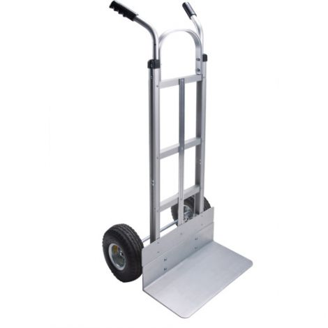 "Aluminum Hand Truck - Handle Type: Dual Handle - Nose Plate: 18""W x 10""D - Wheel Material: Pneumatic"