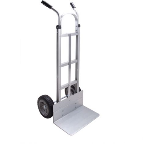 "Aluminum Hand Truck - Handle Type: Dual Handle - Nose Plate: 18""W x 10""D - Wheel Material: Flat-Free"