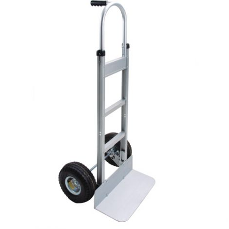 "Aluminum Hand Truck - Handle Type: Continuous Handle - Nose Plate: 18""W x 7 1/2""D - Wheel Material: Pneumatic"