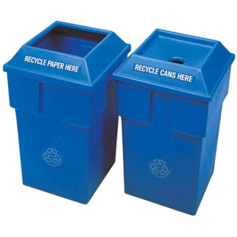 """Recycling Containers Bullseye™ - Opening: Rectangular - 20-1/2""""L x 11""""W x 34""""H"""