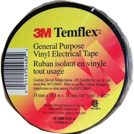"""Temflex™ Electrical Tape - Size: 3/4""""W X 60'L - Colour: Black - Qty/Case: 100"""