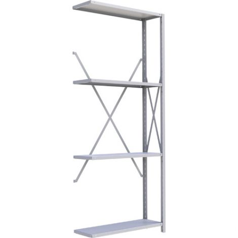 "Boltless Shelving Unit - Dimensions: 36""W x 18""D x 88""H - No. of Shelves: 4 - Kit Type: Add-On Unit"