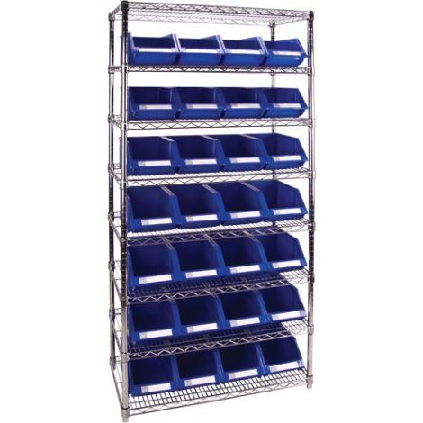 """Wire Shelving Units with Storage Bins - No. of Bins: 28 - Bin Size: 8 3/16""""W x 14""""D x 6 3/16""""H"""