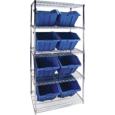 """Wire Shelving Units with Storage Bins - No. of Bins: 8 - Bin Size: 15-1/2""""W x 25""""D x 13""""H"""
