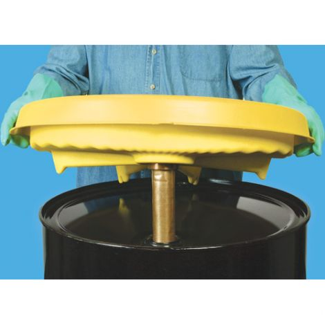 "Universal Safety Drum Funnel™  - Exterior dimensions: 26""Dia. X 5.5""H - Interior dimensions: 22""Dia. X 4""H"