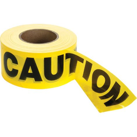 Barricade Tape - Colour: Black on Yellow - CAUTION - Case/Qty: 12 Rolls