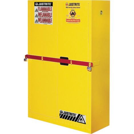 Sure-Grip® Ex High Security Flammable Safety Cabinets With Steel Bar - Capacity: 45 gal. - Door Type: Manual