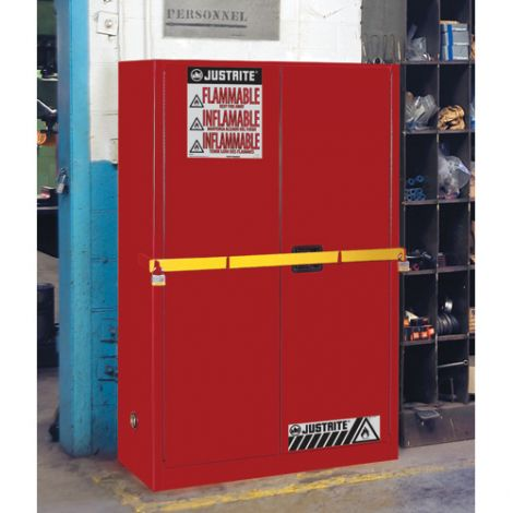 High Security Flammables Safety Cabinet with Steel Bar - Capacity: 45 gal. - Door Type: Self-Closing