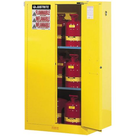 Sure-Grip® Ex Flammable Storage Cabinets - Capacity: 60 gal. - No. of Doors: 2 - Door Type: Manual