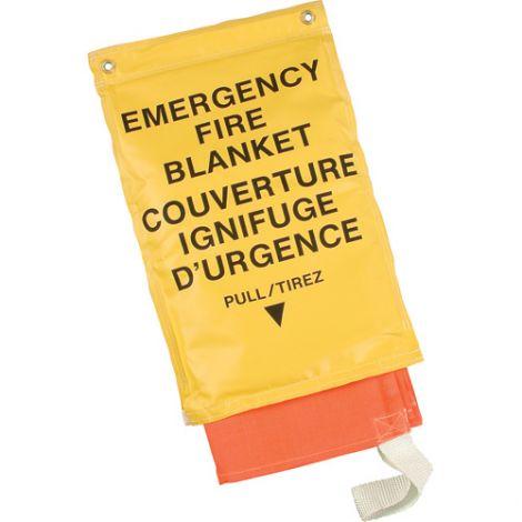 "Emergency Fire Blankets w/Bag - Orange - Size: 72""L x 72""W"