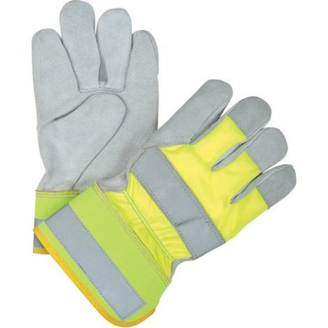Premium Quality Hi-Viz Split Cowhide Fitters Gloves - Colour: Fluorescent Yellow - Case Quantity: 48