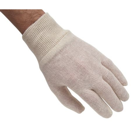 Poly/Cotton Knit Wrist Inspection Gloves - Size: Men's - Grade: Medium weight - Cuff Style: Knit Wrist - Case Quantity: 300