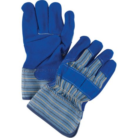 Premium Quality Split Cowhide Fitters Gloves with Kevlar® - Rubber Safety Cuff, Blue - Size: Large - Qty: 30 Pairs