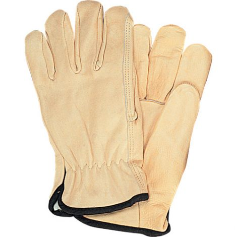 Grain Cowhide Drivers Fleece Lined Gloves - Size: Large - Case Quantity: 24