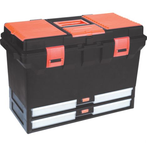 "Plastic Tool Box - Overall Depth: 11"" - Overall Height: 14-1/2"" - Overall Width: 22"" - Colour: Black"