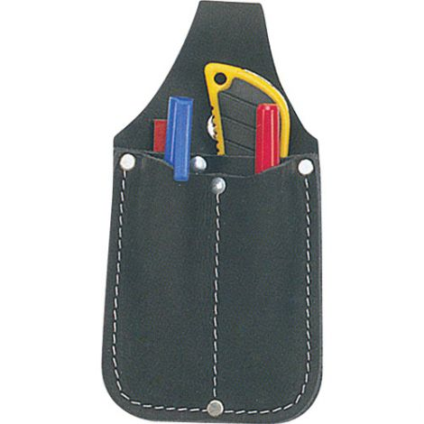Utility Pouch - Material: Leather - Colour: Black - No. of Pockets: 3 - Style: Knife Holder