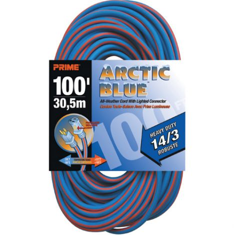 All-Weather Extension Cord - Arctic Blue™ - HEAVY-DUTY - Length: 100' - AWG: 14/3